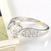 Fashion Jewelry Engangement Ring Style 18k White Gold Plated Crystal