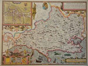 Vecchia copia di John velocità mappa di dorsetshyre Dorset Dorchester 1610