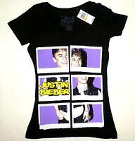 Justin Bieber Polaroid Puzzle Girls Junior T-shirt Black Licensed & Official