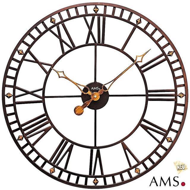 XXL von AMS Metalluhr Bürouhr Ø 60 cm Wohnzimmeruhr 48 Werkstattuhr Uhr 512
