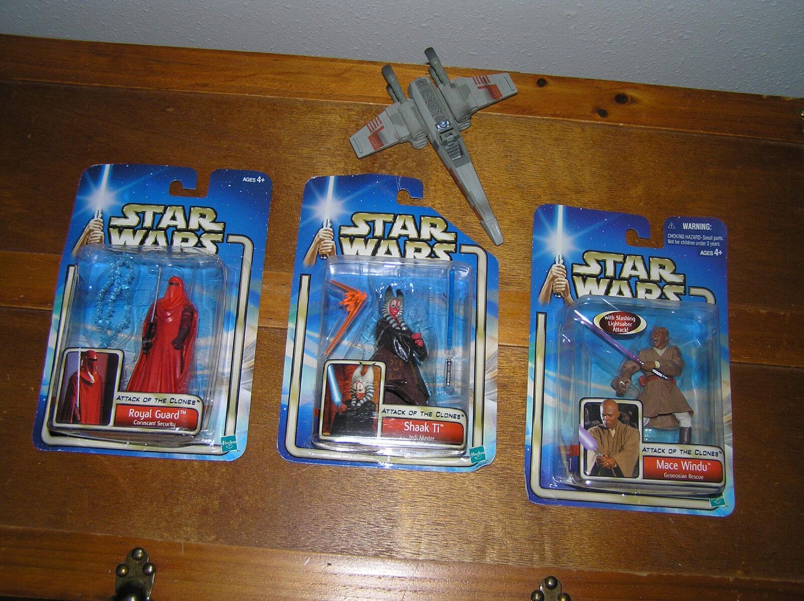 Lot Lot Lot of 3 STAR WARS Hasbro Mace Windu Shaak Ti Royal Guard Plastic Action Figures 017097