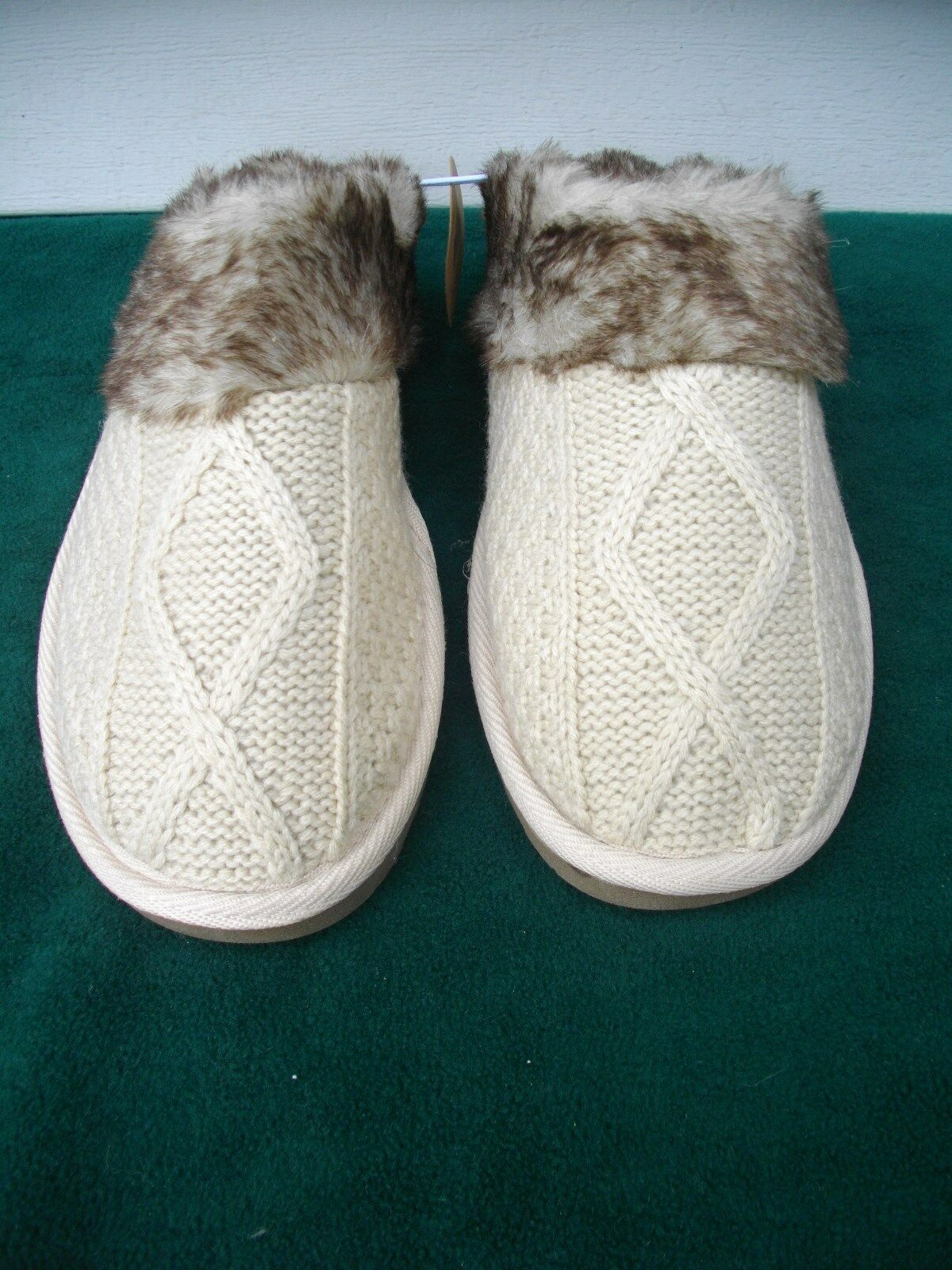 THE 5 & TWINE SLIP ON FLAT CLOG STYLE OPEN BACK FAUX FUR SLIPPERS WOMEN'S M