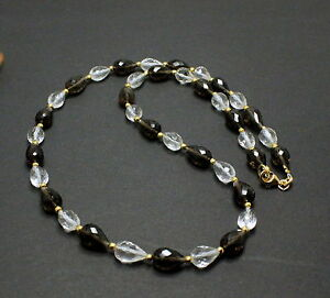 Smoky Quartz And Rock Crystal Necklace Precious Stone Faceted Drop Necklace New