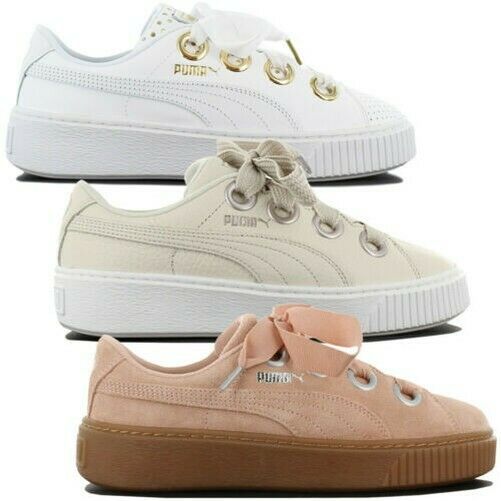 Puma Platform Kiss Leather Women's Sneakers Fashion shoes Leather Gym shoes New