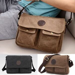 8e220913a472 AU Men Vintage Casual Canvas Leather Shoulder Bags Messenger Hiking ...