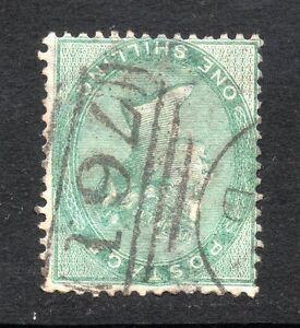 QV 1855-57 sg 72wi 1/- green with wmk inv variety- Sunderland 761 pmk.
