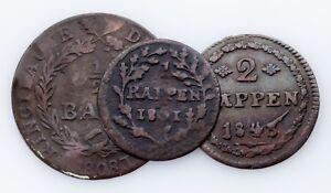 1801-1843-Swiss-Cantons-1-2-Batzen-1-amp-2-Rappen-Coin-lot-of-3-VF