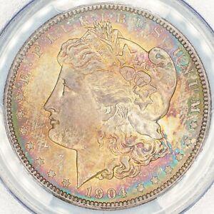 1904-O-Morgan-Silver-Dollar-PCGS-MS65-Rainbow-Toning-UNC-COLOR-GEM-BU-DR