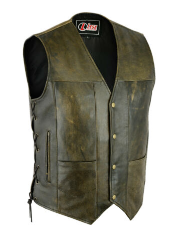 Pocket Distressed Motorcycle Mens 10 Side Vest Brown Laces Leather g7f1w