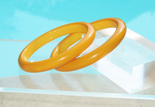 Vintage Bakelite Bracelet Bangle Spacer yellow mar