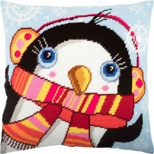 "Needlepoint//Tapestry Pillow Cover DIY Kit /""Penguin/"""