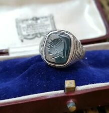 VINTAGE 1989 solido argento uomo anello, Ematite CENTURION intaglio SIGNET, dimensioni Q