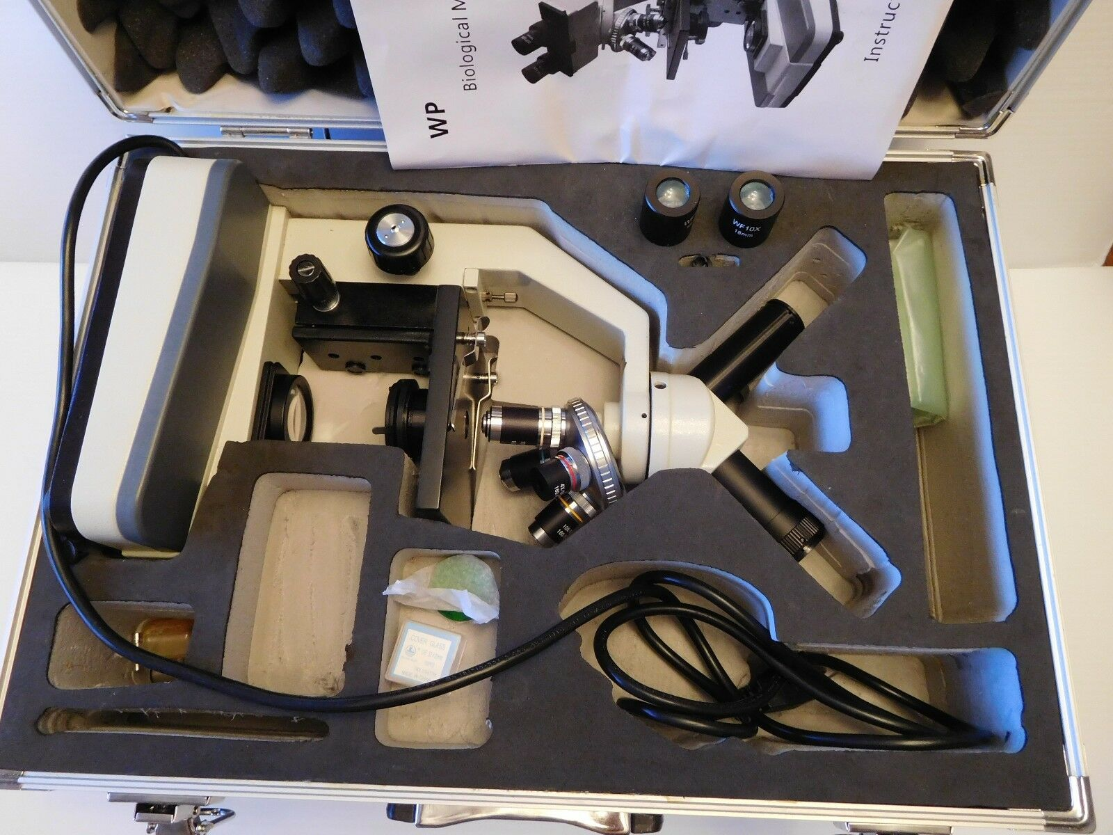 Walter Products WP Powerot Student Biological Microscope Extras & Carrying Case