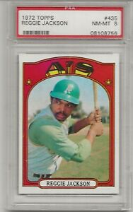 1972 TOPPS #435 REGGIE JACKSON, PSA 8 NM-MT, HOF, OAKLAND ATHLETICS, L@@K !