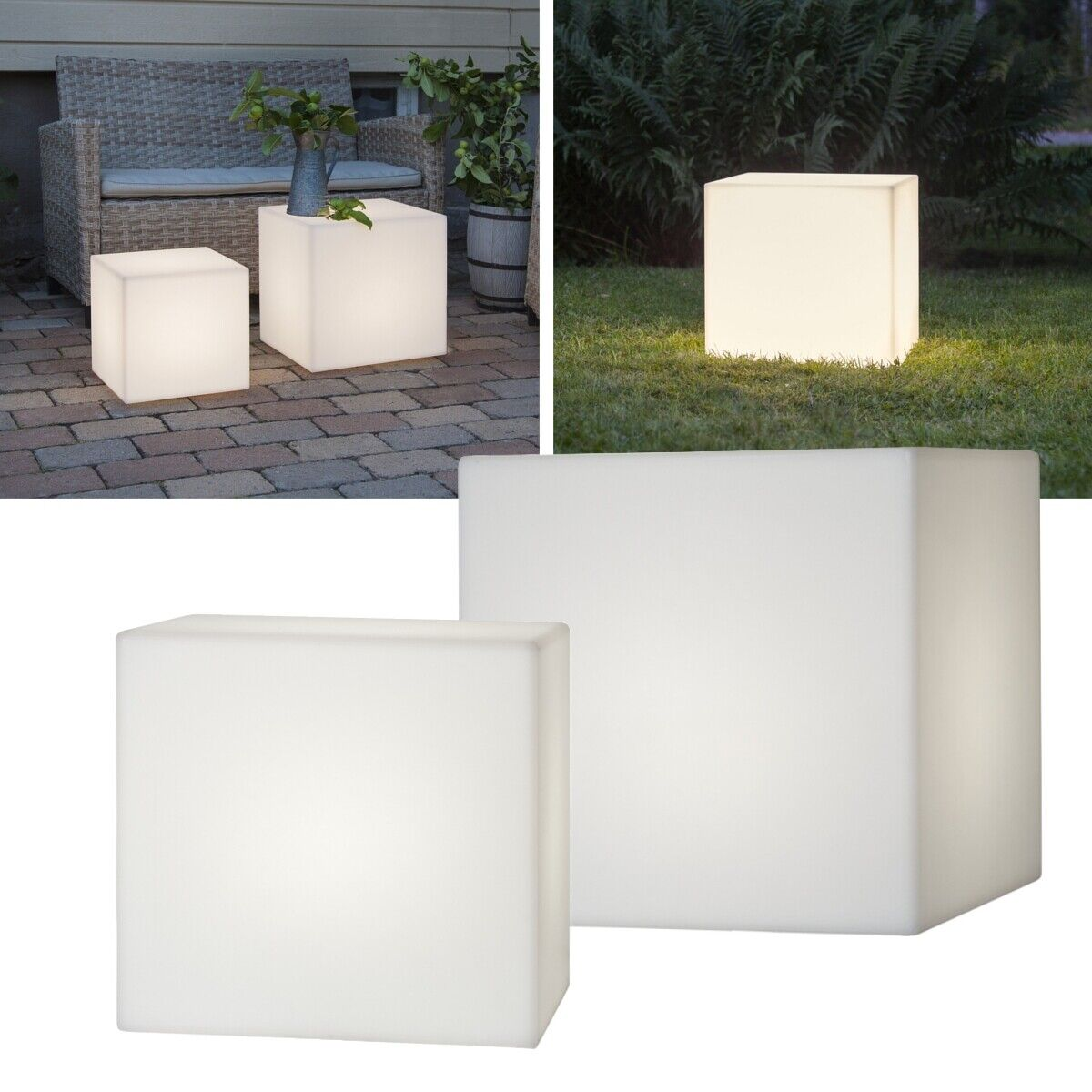 Cubo-lámpara 30 40cm con e27-versión 230v muebles-Lámpara LED jardín lámpara-ip65
