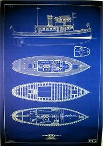 "Vintage San Francisco 1915 Tugboat Blueprint Plans ""23 x 33"" three pages (048)"