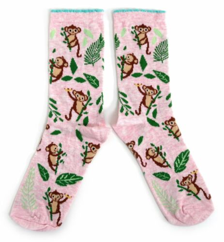LADIES MONKEY IN THE JUNGLE PINK MOTHERS DAY SOCKS 4-8 Eur 37-42