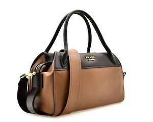 4f5f90ec22c6 Image is loading Prada-Ribbon-Bowler-Bag-Bauletto-Brown-Leather-New