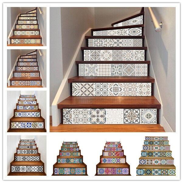 6Pcs Vinyl Mosaic Stair Riser Stickers Wall Tile Decals Wallpaper Self Adhesive