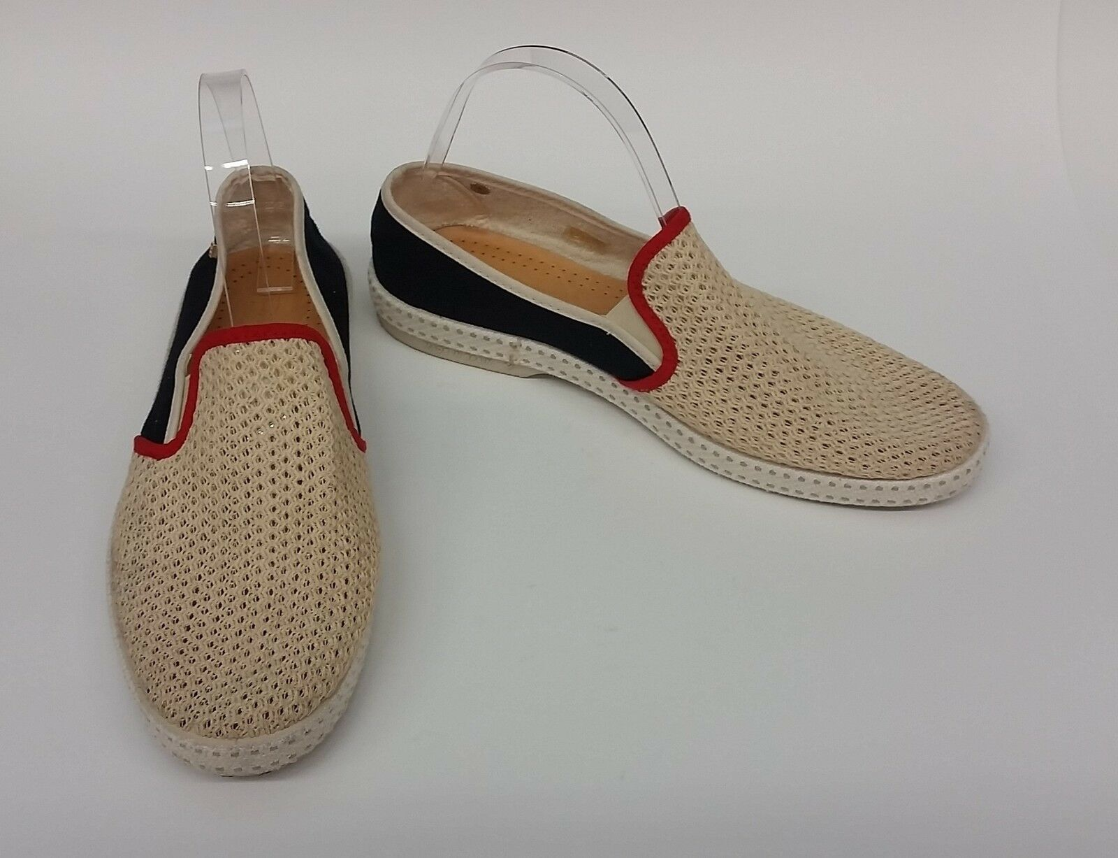 Rivieras Schuhes Flats Cream Blau ROT Slip On Sneakers Mesh Größe US 10.5 EU 41