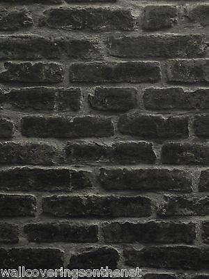 Black & Grey, Heavyweight Sculptured Vinyl, 3D Brick Effect Wallpaper
