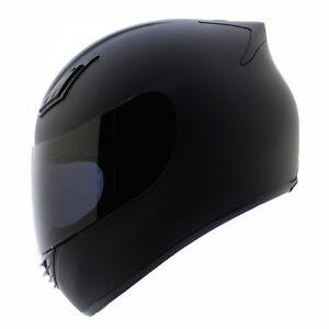 Duke Full Face Motorcycle Helmet DOT Matte Black + 2 VISORS - S M L XL XXL