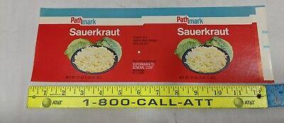 Vintage can label Pathmark Sauerkraut 27 oz Supermarkets General Woodbridge NJ