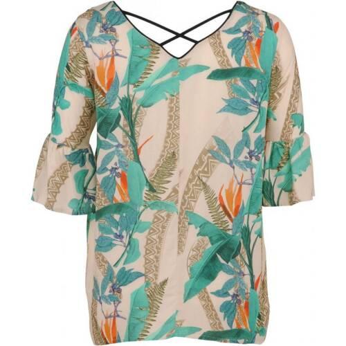 Aprico Damen T-Shirt Grün Beige Kurzarm große Größen