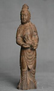 """5.2 """"vieux bouddhisme chinois bois sculpté stand Guanyin Kwan-yin déesse Statue"""