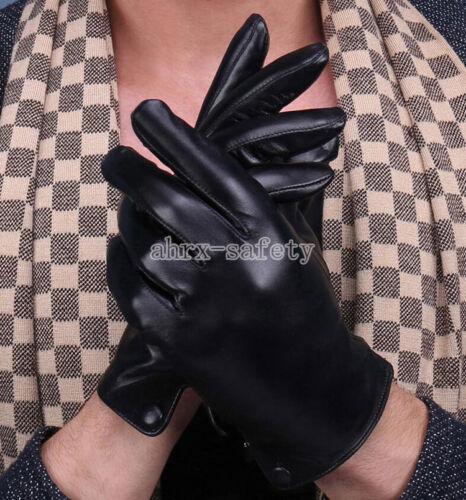 Men/'s Genuine Sheepskin Touch Screen Winter Cashmere Lining Super Warm Gloves