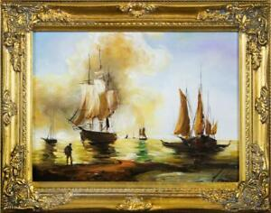 Painting-Oil-Painting-Picture-Oil-Frame-Pictures-Sea-Ships-Oil-Painting-G16277