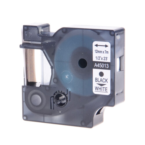 1PK 45013 Black on White Label Tape For DYMO D1 LabelPoint 100 200 300 12mm