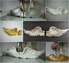 Pair Of Ornate Vintage Shabby Chic Angel Wings Cherub Wall Art Garden Decoration