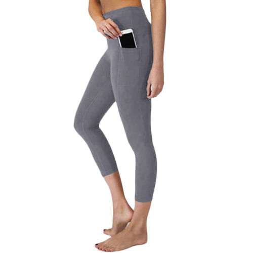 Womens High Waisted Gym Leggings Pocket Trousers Running Sports Stretch Pants