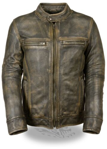Men/'s Distressed Brown Vented Leather Jacket w// Triple Stitch /& Two Gun Pockets