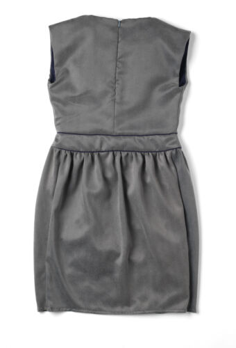 Made in Britain Soft Grey Floaty Silky Tulip-shaped Dress