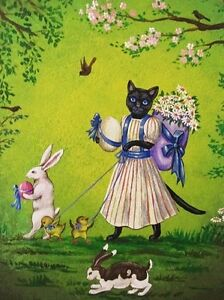 1-5x2-DOLLHOUSE-MINIATURE-PRINT-OF-PAINTING-RYTA-1-12-SCALE-EASTER-BUNNY-CAT-ART