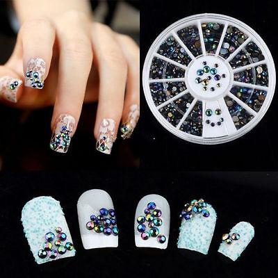 HOT!300pcs 3D Nail Art Tips Crystal Glitter Rhinestone Pearl Decoration + Wheel