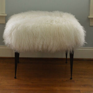 Image Is Loading Mongolian Lamb Fur Stool Natural White Tibet Footstool