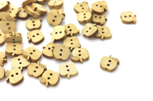 Apple Wooden Buttons Two Holes Small Fruit Shape Natural Wood Color 13mm 3pcs