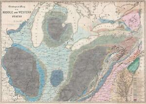 Details about 1843 Hall Geological Map of the Central United States