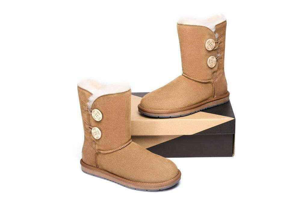 Details about NEW Premium Wool UGG Women Classic Ankle ShortMedium 2 Buttons Boots