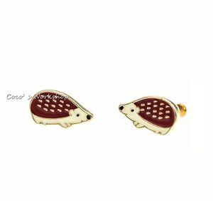 Image Is Loading Enamel Cute Gold Hedgehog Earrings Stud Christmas