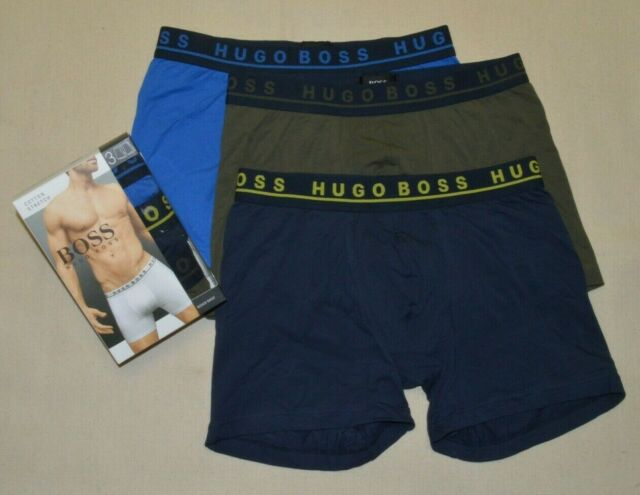 Black with Navy//Gray//Olive Hugo Boss BOSS Mens 3-Pack Stretch Cotton Regular Fit Trunks m