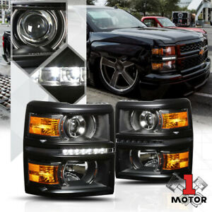 Chrome Housing Led Projector Headlights Lamp Amber DY 14-15 Chevy Silverado 1500