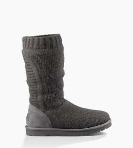 bce2e5cf6c8 Details about NIB UGG AUSTRALIA CAPRA TALL KNIT BOOTS GREY WOMENS 7 US/EU  39 FULLY LINED!