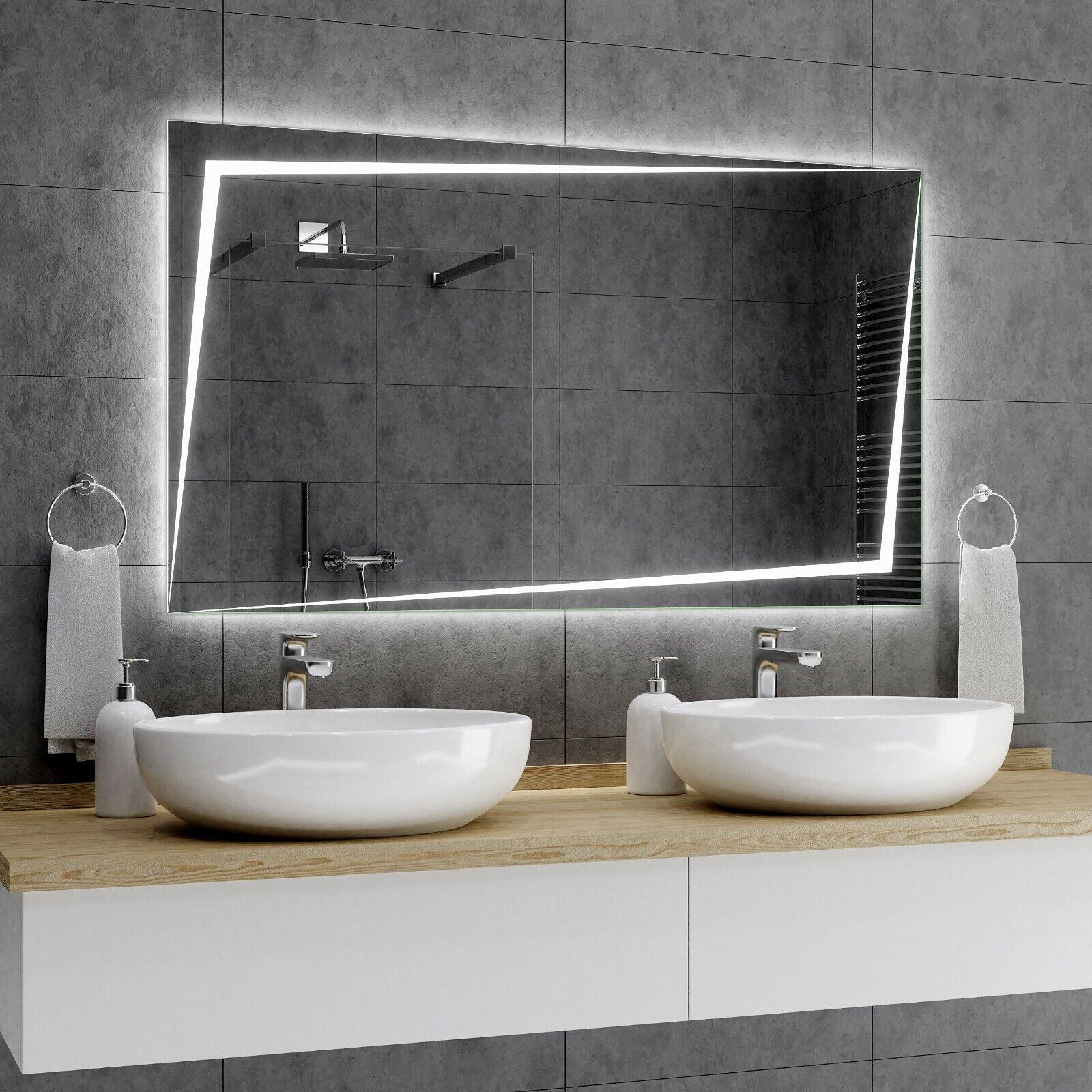 BERLIN Badspiegel mit LED Beleuchtung Wandspiegel Badezimmerspiegel nach Maß A01