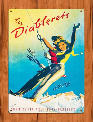 "TIN SIGN /""Les Diablerets/"" Ski French Winter Mountains Girl Cabin Decor"