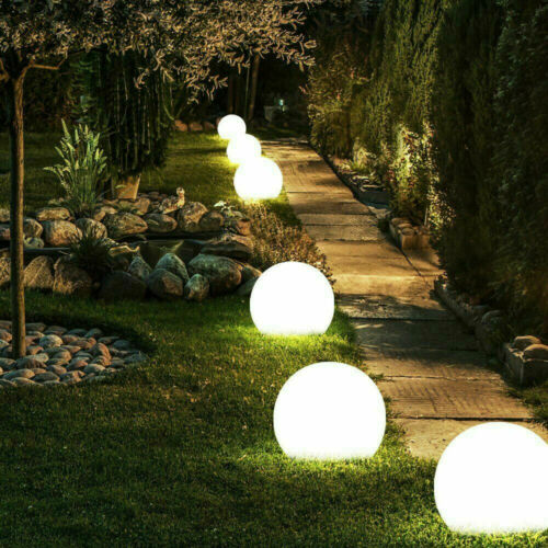 4 moderne grande Energie Solaire Blanc Globe Boule De Jardin Lumière Jeu Post Outdoor