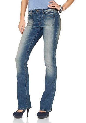 Arizona Flare Jeans Gr.36-38 NEU Damen Bootcut Hose Blau Used Stretch Denim L32